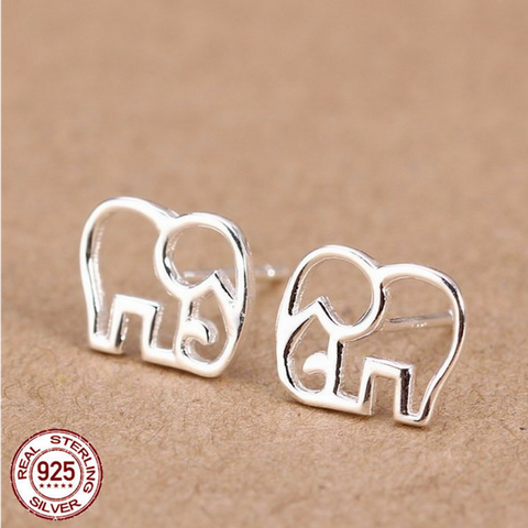 925 Sterling Silver Cute Elephant Stud Earrings