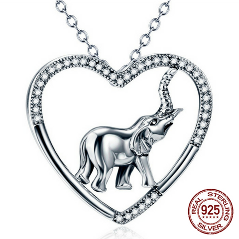 925 Sterling Silver Good Luck Elephant Pendant Necklace