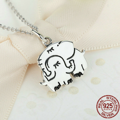 925 Sterling Silver Cute Elephant Mother Pendant Necklace