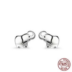 925 Sterling Silver Lucky Elephant Stud Earrings