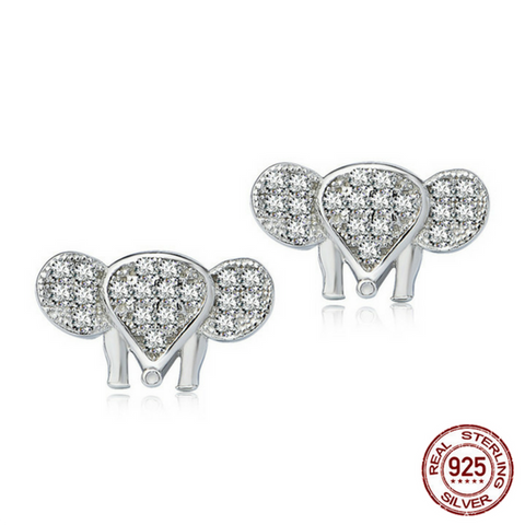 925 Sterling Silver Crystal Elephant Stud Earrings