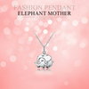 Image of 925 Sterling Silver Cute Elephant Mother Pendant Necklace