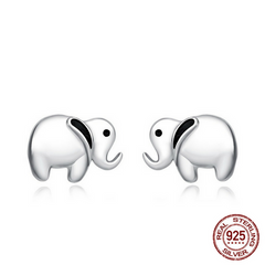 925 Sterling Silver Lovely Elephant Stud Earrings