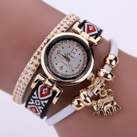 Authentic Elephant Pendant Bracelet Watch