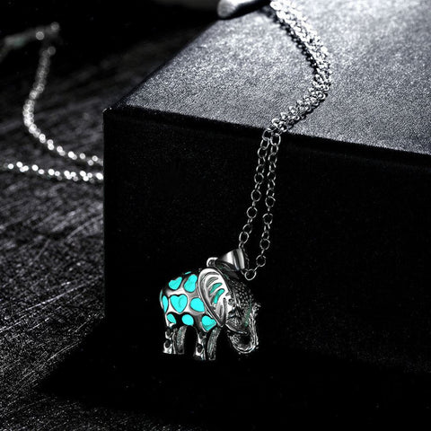 Glow In The Dark Elephant Pendant Necklace