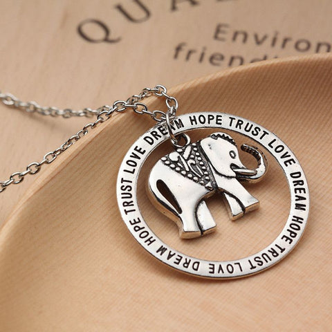 Silver Plated Elephant Love Dream Trust Hope Pendant Necklace