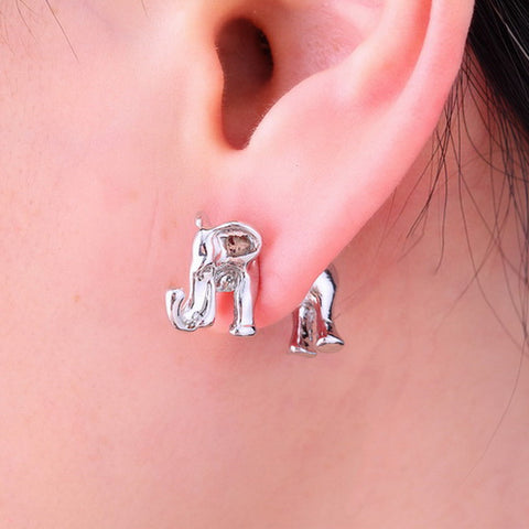 Cute 3D Elephant Earring Set