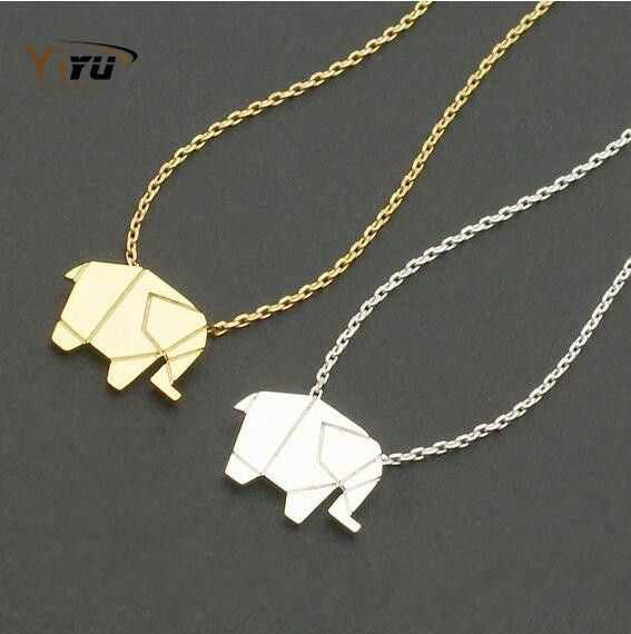 Origami elephant pendant necklace elephant rescue origami elephant pendant necklace mozeypictures Image collections