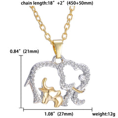 Mother & Baby Rhinestone Elephant Pendant Necklace
