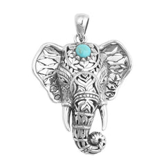 Turquoise Moon Elephant Pendant & Necklace