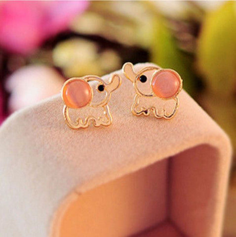 Cute Baby Elephant Opal Stud Earrings