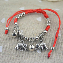 Adorable Elephant Rope Charm Bracelet