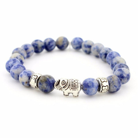Blue Antique Silver Elephant Lotus Bracelet
