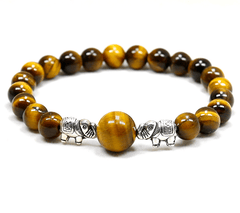 Natural Tiger Eye Stone Handmade Elephant Bracelet