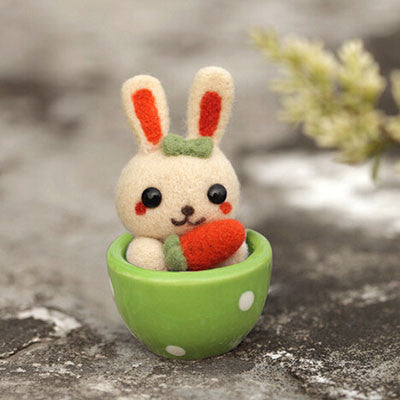 Teacup Series - Bunny - DIY Felting Kit