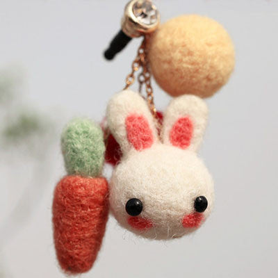 Carrot Bunny (Earphone Plug) - DIY Felting Kit