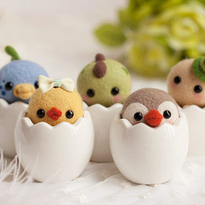 Cute wool felting egg animals - DIY Felting Kit