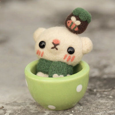 Teacup Series - Bear - DIY Felting Kit