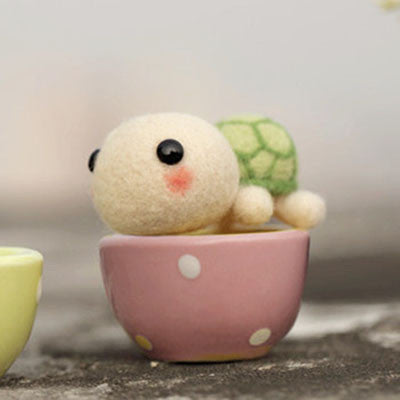 Teacup Series - Turtle - DIY Felting Kit