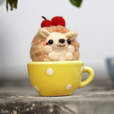 Teacup Series - Hedgehog - DIY Felting Kit