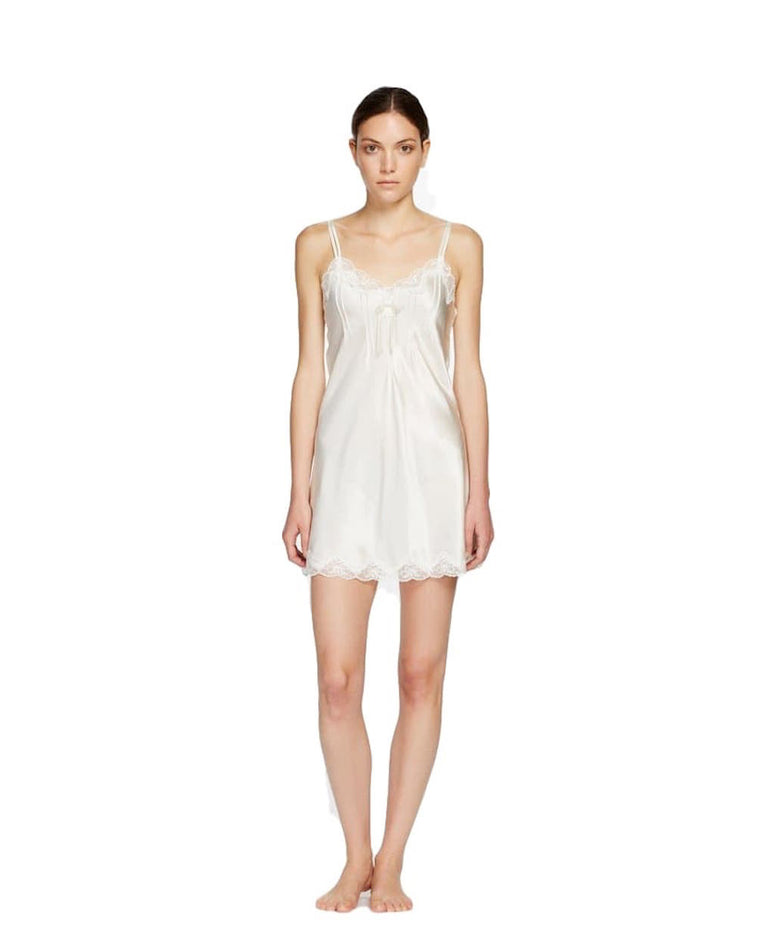 Ginia Scallop Lace Pure Silk Chemise with Pintucks and Lace #7002