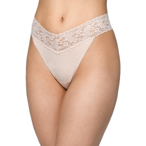 Hanky Panky Organic Cotton Original Rise Thong with Lace 891801