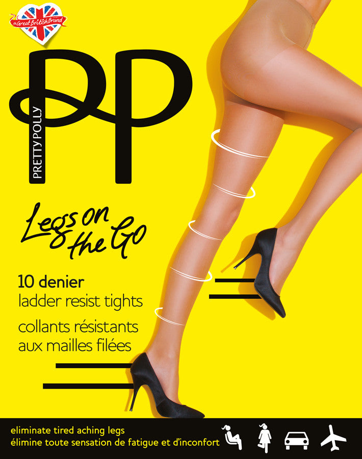 Pretty Polly Legs on the Go 10 Denier Ladder Resist Tights #PNASK3