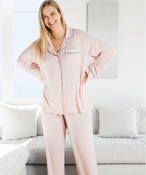 Barefoot Dreams Luxe Milk Jersey Piped Pajama Set #BDWLM0186