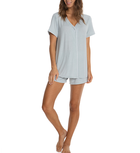 Barefoot Dreams Luxe Milk Jersey Short Sleeve Piped PJ Top and Boxer Set #BDWLM1180