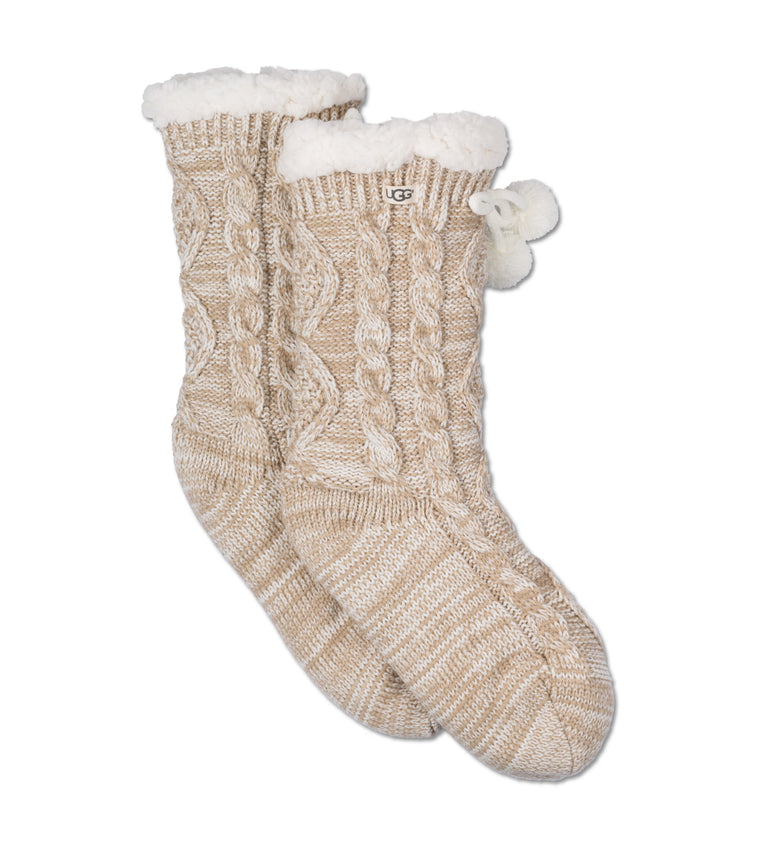 Ugg Pom Pom Fleece Lined Crew Sock #1014837
