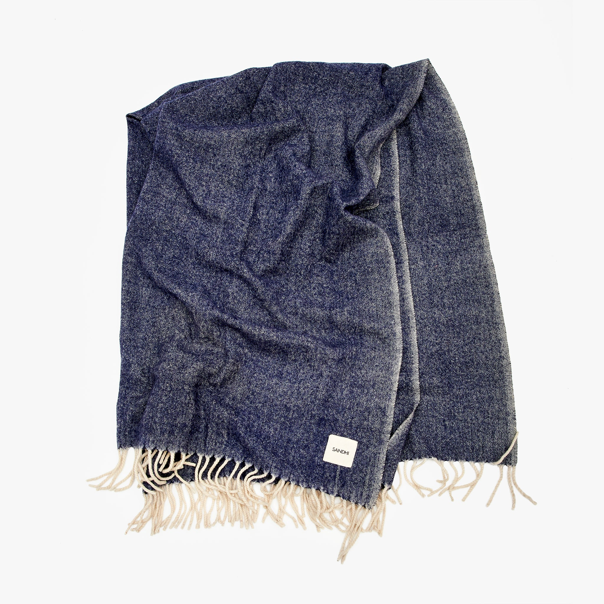 Blue Lambswool Blanket with Fringes | Sandhi
