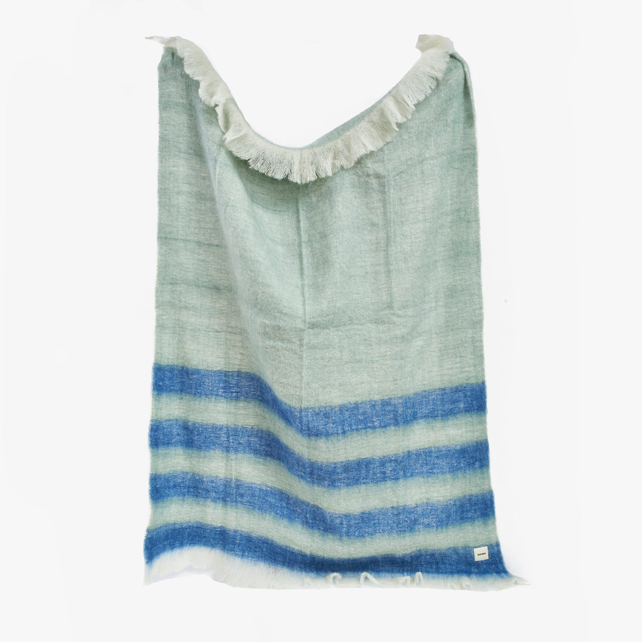 Blue & Green Wool Blanket stripped Throw | Sandhi