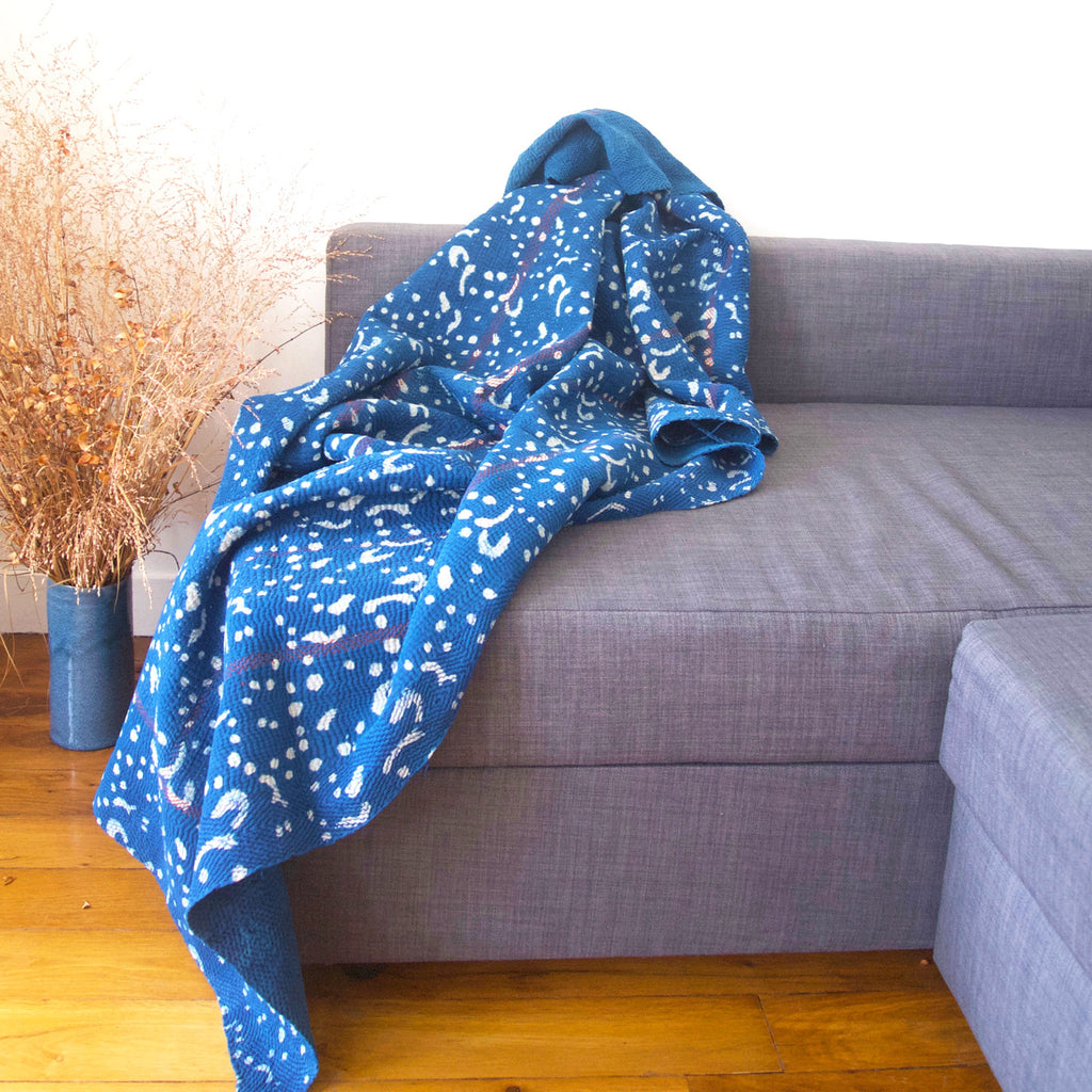 Blue Cotton Kantha Stitch Throw | Sandhi