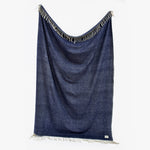 Blue Natural Lambswool Throw + Blanket | Sandhi