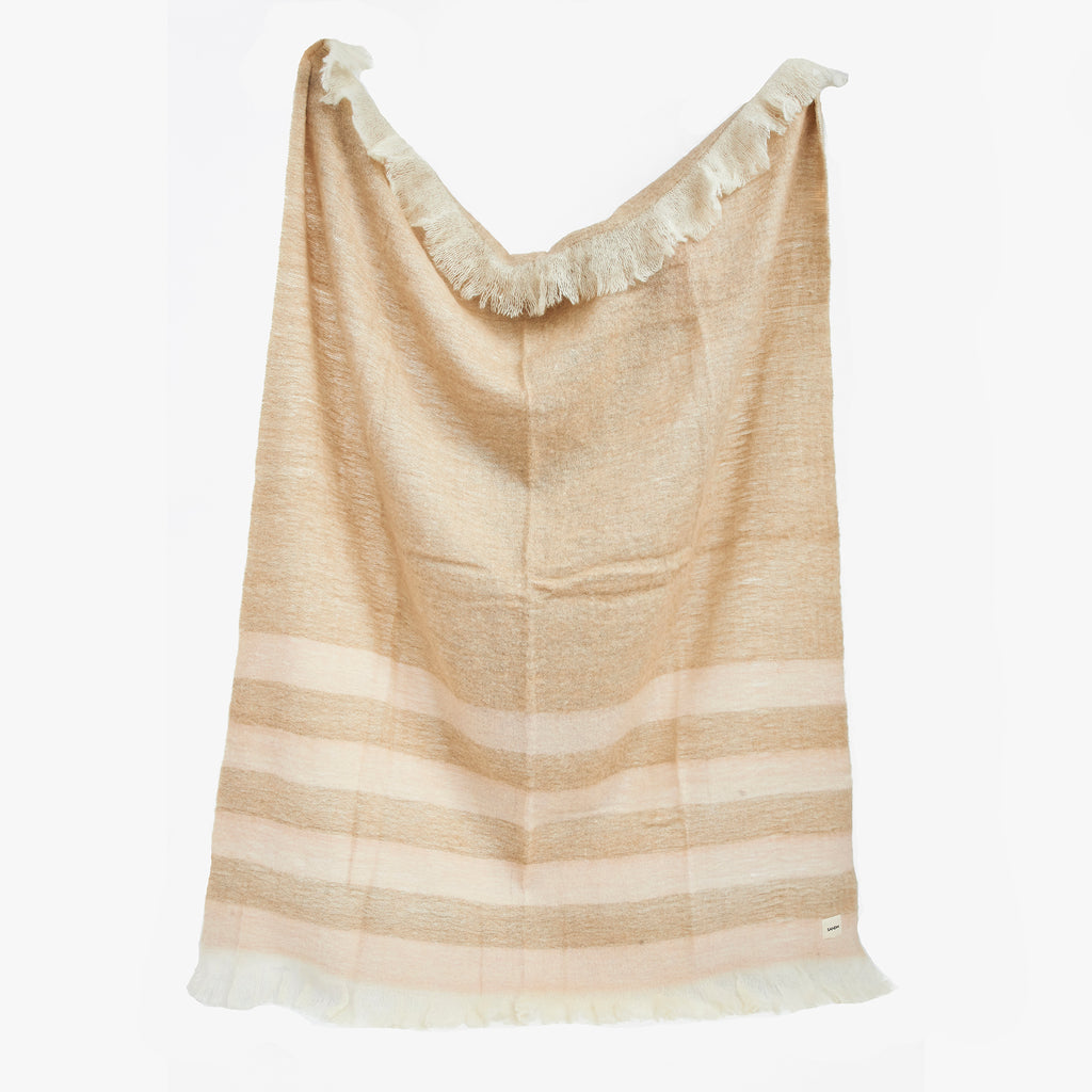 Brown Striped Wool Throw Blanket | Sandhi
