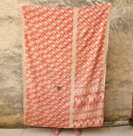Red and Blue Handmade Kantha Bedding Bedspread | Sandhi