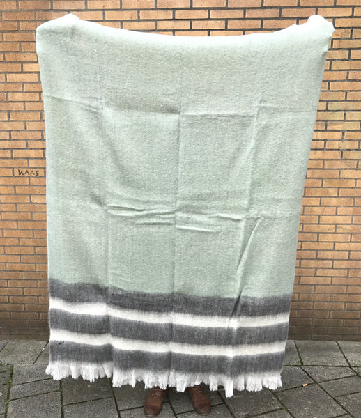 Mohair Blanket 55% - Tasman Green & Grey