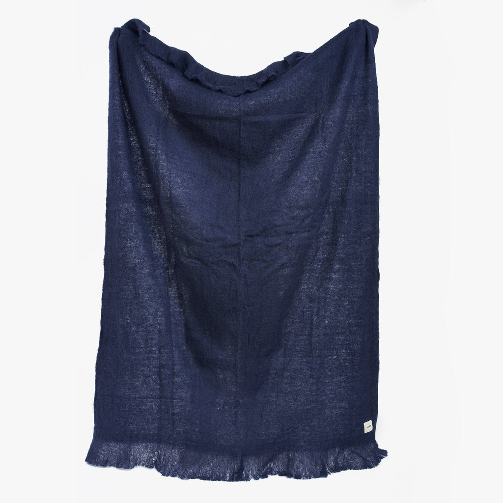 Brushed Wool Blanket Indigo, Handmade | Sandhi