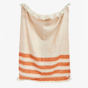 Cream Rust Plush Throw Blanket | Sandhi