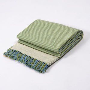 Houndstooth Blanket - Blue Moss