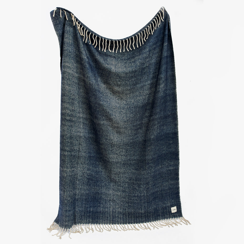 Blue Super Soft Herringbone Throw | Sandhi