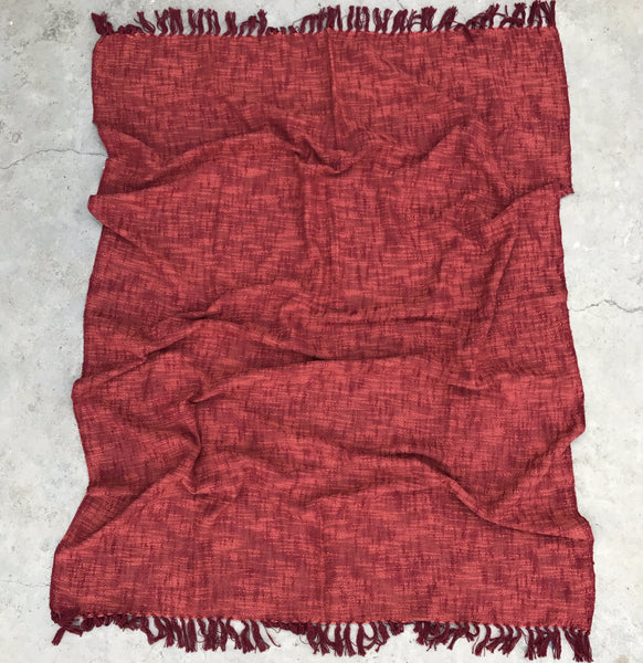 Texture cotton throw blankets Red Vegan | Sandhi