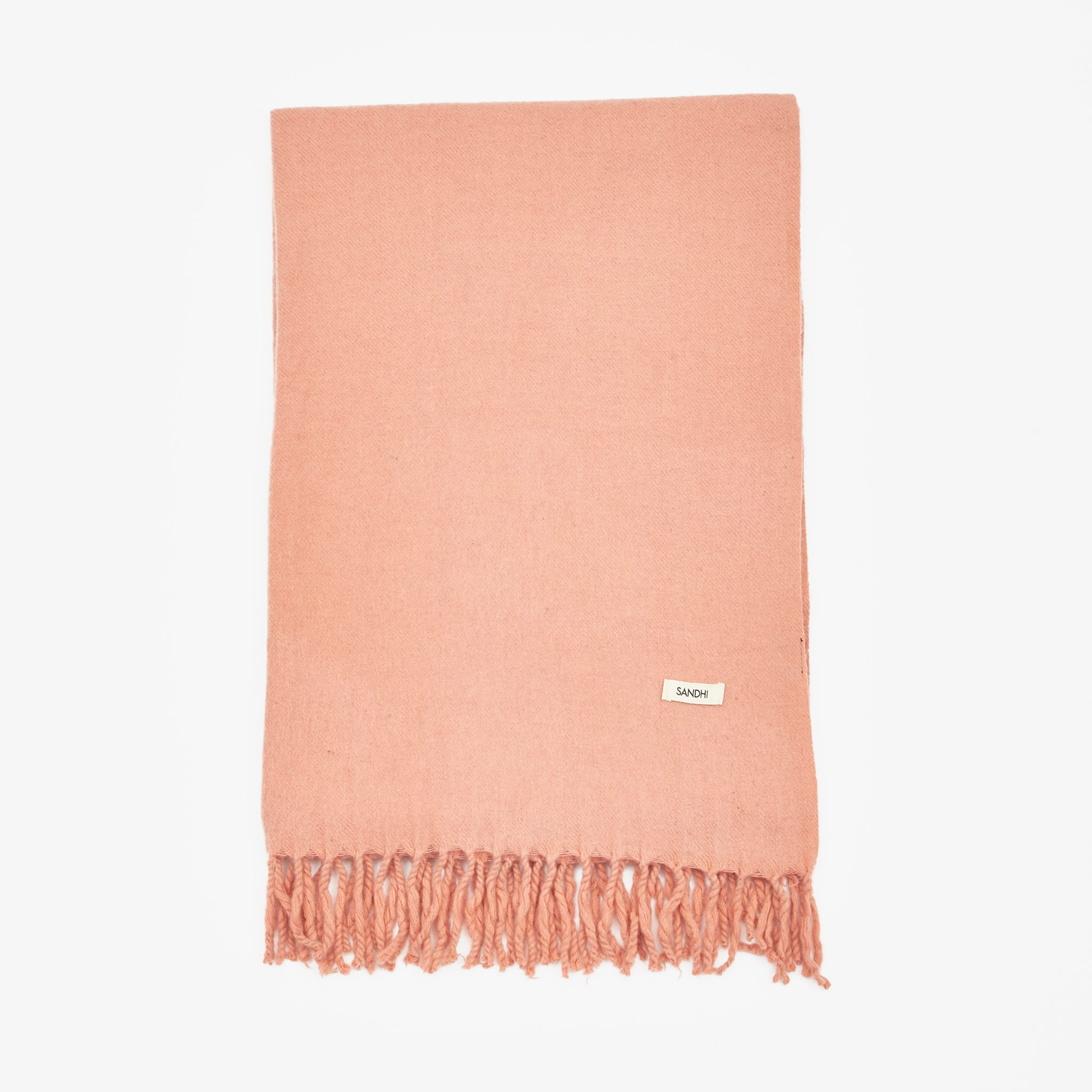 Lambswool Fringed Scarf - Pink Clay