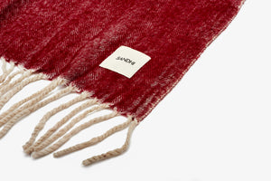 Red Poppy herringbone throw with rolled fringes | Sandhi