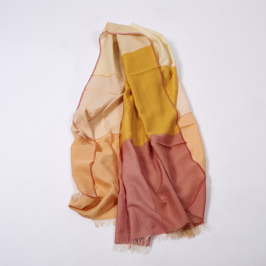 Tile Wild-Silk Scarf - Golden Pink