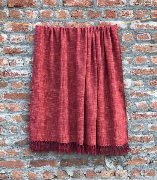 Red Cotton throw blanket, handmade vegan | Sandhi