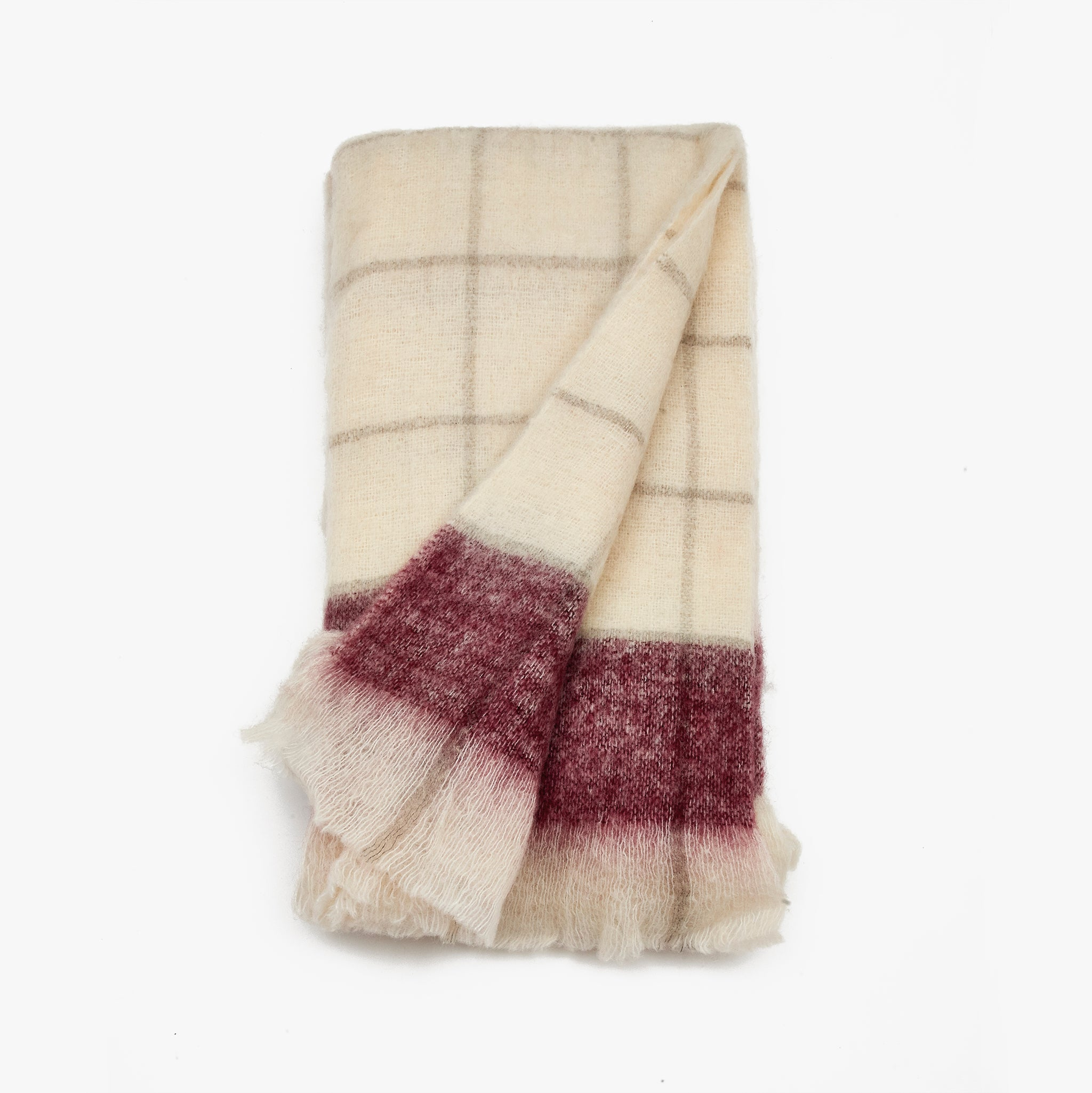 Block Red Check Wool Throw Blanket | Sandhi