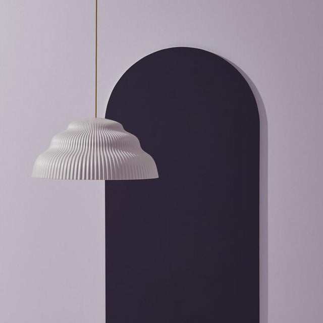 Kaskad is a Pleated Ceramic Lilac Lighting Pendant