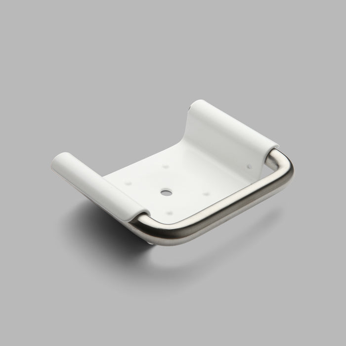 The modern Knud Soap Dish is offered as part of d line's Sanitary Collection for both Commercial and Residential spaces. Offered in White, Grey and Satin Stainless Steel.