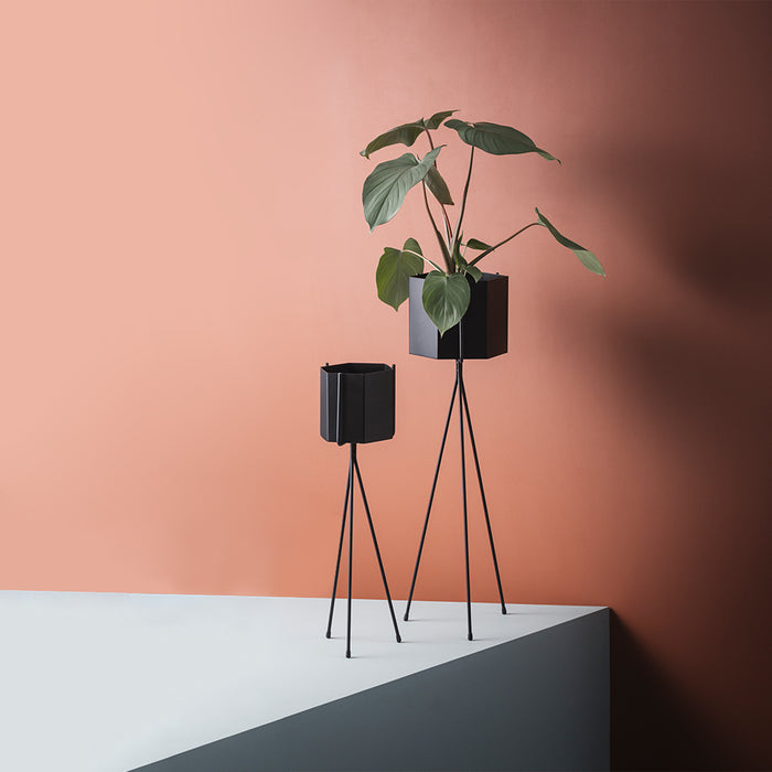 Hexagon Plant Pot and Stand Ferm Living